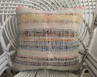 "Bohemian Kilim Pillow 16""x16 Multicolour Pillowvintage kilim pillow Cushion case Decorative Kilim Pillow  handmade pillow Throw Pillow 1051"