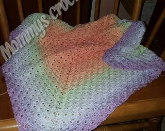 Crochet rainbow sherbet blanket. Crib blanket photo prop baby shower