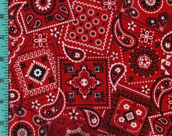 Bandana Paisley Red Black, Fabric Quilting Crafting Home Decor