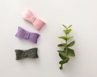 Barrettes picks up toupee for baby / child - loops in wool of Merino - rose sweet, purple, gray or the complete trio