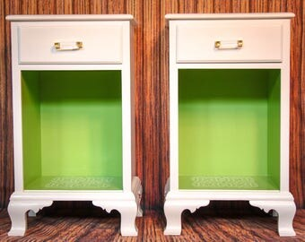 White & Green Regency Nightstands 1947 Mahogany Refinished