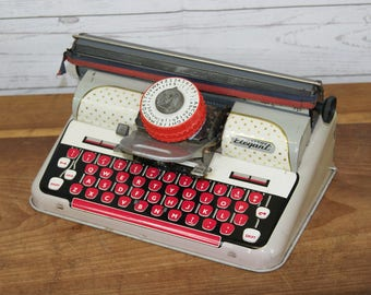 Vintage 1960s Mid Century Mettoy Metal Tinplate Child's Kid's Toy Elegant Typewriter