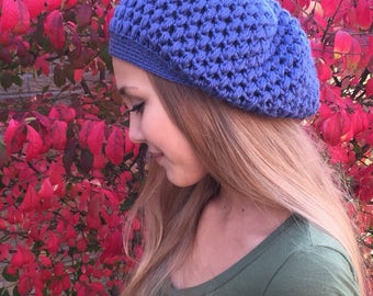 Crochet blue slouchy hat, crochet blue hat, slouchy hat women, winter hat, blue beanie, crochet beanie, blue beret