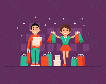 Shopping black Friday mascot clip art, shopping girl, shopping mascot clip art, shopping illustration mascot