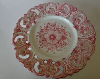 Hand painted Portuguese incised floral plate