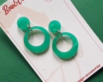 Baby Vivien hoop earrings - Green. 1940's, classic hoop, pinup, 40's, vintage styled, vintage inspired, repro, VLV, summer