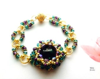 Luxury czech glass beaded bracelet, green, purple, gold beadwork bracelet, women's beadwoven bracelet, bead embroidery cuff, valentine's day