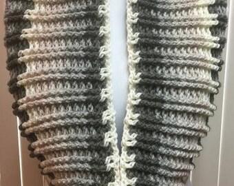 Gray Cowl, Crochet Cowl Scarf, Gray Scarf, Crochet Scarf, Crochet Cowl, Cowl Scarf, Gifts for Her, Small Circle Scarf, Striped Cowl Scarf