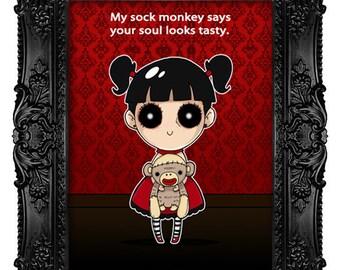 "Fine art Print, ""Nina with sock monkey."" Creepy, cute, lowbrow wall art"