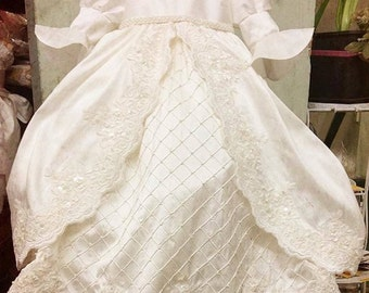 Christening silk gown-baptism gown-boy girl gown-Pearls