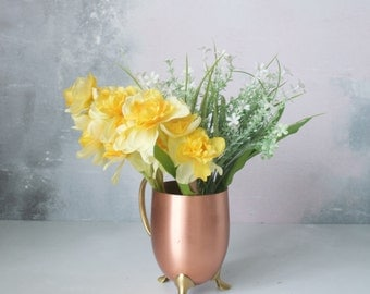 Hand Tied Daffodil Bouquet - Easter flowers - Yellow daffodils - faux flowers - artificial flowers - Hand tied bouquet - real touch flowers