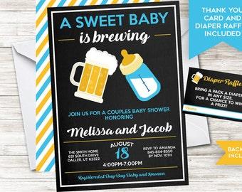 Baby Brewing Invitation Boy Invite Couples Shower Sprinkle Co-ed Chalkboard Digital 5x7