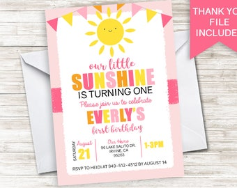 Sunshine Invite Invitation Digital Our Little ANY AGE Personalized 5x7 Pink Yellow Girls First 1st