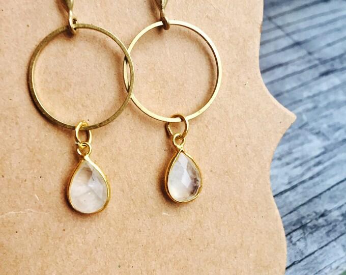 Moonstone Quartz Faceted Teardrop Minimal Geometric Drop Dangle Crystal Earrings