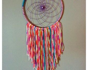 Handmade pastel tie dye dream catcher