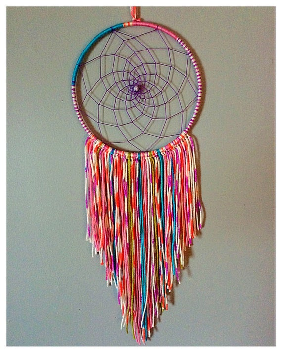 handmade pastel tie dye dream catcher. Black Bedroom Furniture Sets. Home Design Ideas