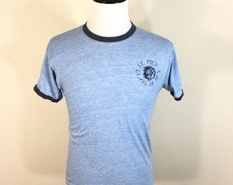 80's vintage distressed heather blue ringer t-shirt 50/50 blend