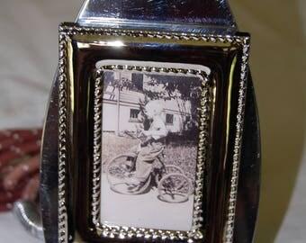 Repurposed Antique Electric Iron Photo Display Frame
