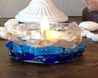 Beach Sea Glass  Candle Holder Home Cabana Decor  Beach Glass