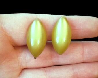 Lime Green Earrings - Screw Back Earrings - Oval Earrings - Antique Earrings - Clip on Earrings - Unique Jewelry - Vintage Jewelry - Gift