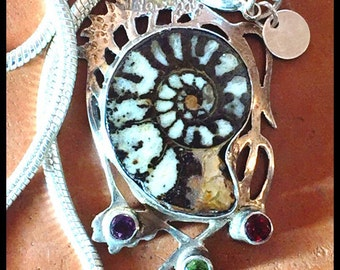 18g Sterling, Fossil , Amethyst, Necklace, w/thick Sterling Silver Snake Chain (44.00), Handmade, Fantastically different and Beautiful!
