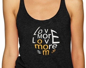 LoveMORELOVEmore Ladies Racerback Triblend Yoga Activewear tank Style 673. Printed Front and back (LMLM) COIN only. Option 3