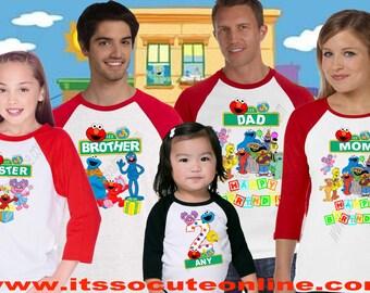 Sesame Street Birthday Shirt/Elmo Birthday Shirt/Elmo Family Shirt/Seasame Street Family Shirt/Elmo Shirt/Elmo theme Family Shirts