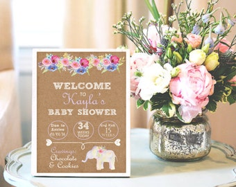 Personalized Printable Baby Shower Sign - It's A Girl, Boho Floral Elephant, Pink, Purple, Kraft Paper -DESIGN 100
