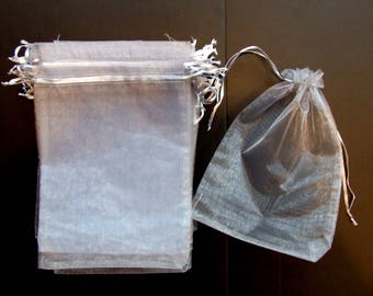 Large Organza Gift or Party Favor Bags 30 Silver Gray Grey 6x9  only 15 cents each / Birthday Parties Weddings Crafts Crafting destash