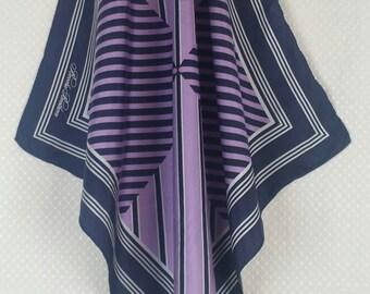 BROOKS BROTHERS geometric design silk scarf in navy blue, white and purple - original