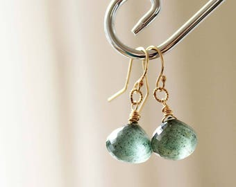 Moss Aquamarine Dangle Earrings, Moss Aquamarine Onion Earrings, Moss Aquamarine Gold Filled Earrings