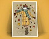 Poster A4 Art Print -  Meisje met gele jas -
