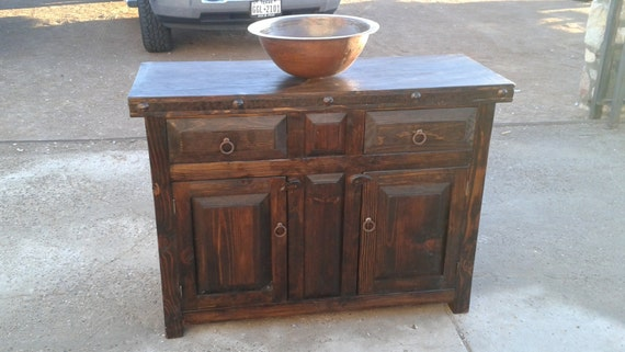 rustic reclaimed dark wood bathroom vanity