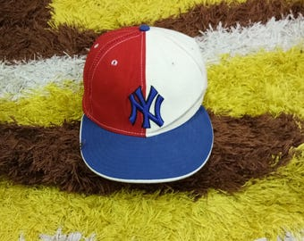 Rare Vintage New York Yankees Colorblock Full Cap, NY yankees Cap Hat, MLB TEAM, street wear, Hip Hop, Skate
