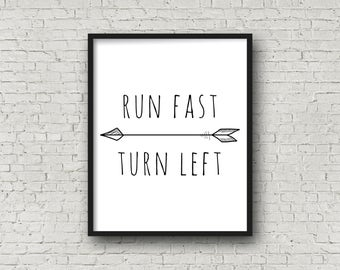 Run Fast Turn Left, Track And Field, Running Quotes, Motivational Quotes, Motivational Poster, Track, Inspirational Wall Art, Running Gifts