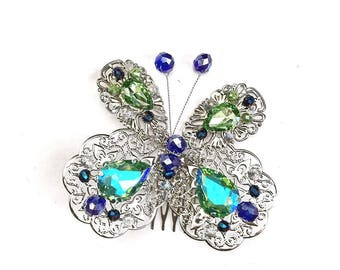 Wedding Rhinestone Butterfly Comb Bridal Hair Accessory Swarovski Crystal Butterfly Hair Piece Green Blue Vintage Birthday Party present