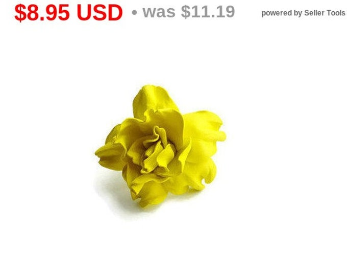 Yellow Scrunchy Flower barrette Hair Ties Pin Prom Hairpin Hair pin Wedding Bridal Mom Event Floral rose handmade brooch Gift for her