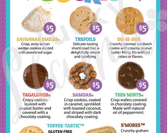 Girl Scout Cookie Menu with prices 8.5 x 11 - printable