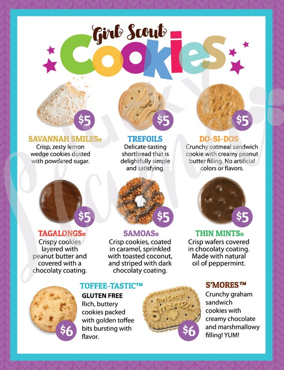 girl scout cookie menu with prices 8 5 x 11 printable