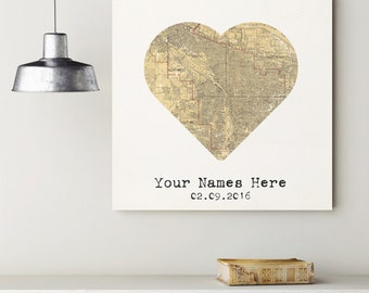 Custom Portland Heart My City Map Canvas Art