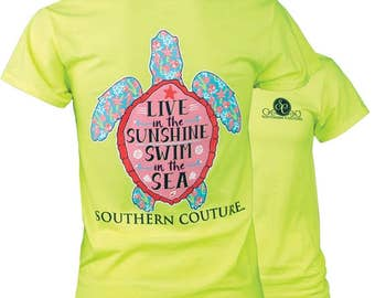 SC Classic Sunny the Turtle - Safty Green  - Live in the Sunshine Swim in the Sea Preppy Turtle Southern Tee