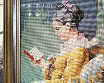 Antique Goblin picture in the painting frame WOMAN READING