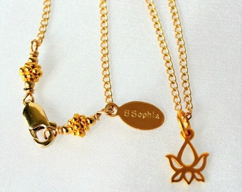 Gold Lotus Necklace | Lotus Charm Necklace | Minimalist Necklace | Dainty Gold Charm Necklace | 24k Vermeil Gold | 24k Gold