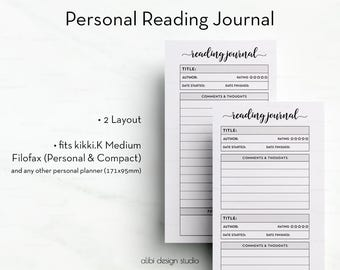 Reading Journal, Personal Planner, Reading Planner, Personal Inserts, Book Planner, Reading List, Printable Planner, Reading Tracker