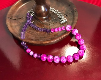Purple Tie-dyed Beaded Necklace