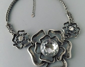 Signed 'N' Chunky Antiqued Silver Tone and Faceted Glass Rhinestone Three Rose Bib Necklace