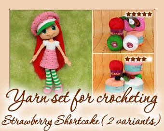 Yarn set for crocheting Strawberry Shortcake