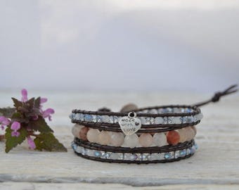 Wrap bracelet leather crystals and semiprecious stones
