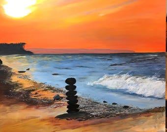 Sonnenuntergang zu zweit, Acrylmalerei  auf Leinwand