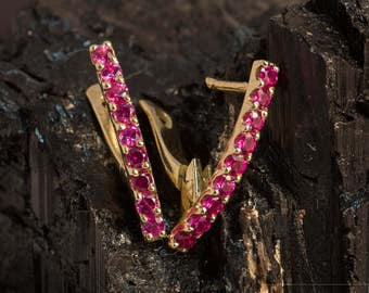 Earrings with rubies, sapphires and CZ